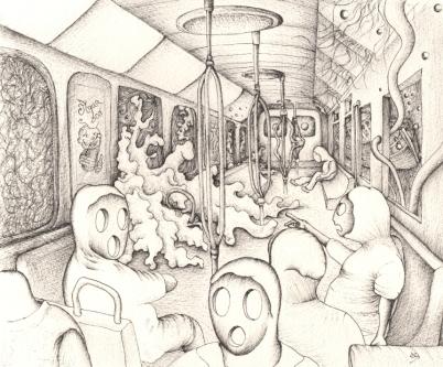 Subway - 26 x 36cm - Stylo sur papier