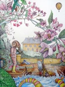 Dans le potage - 36 x 48 cm - Stylo/aquarelle sur papier