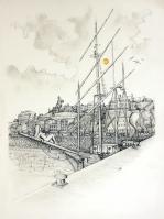 Granvile - 36 x 48 cm - Stylo/aqua sur papier