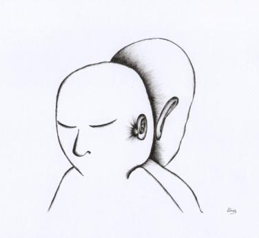 Deux visages - 21 x 28 cm - Sylo sur papier
