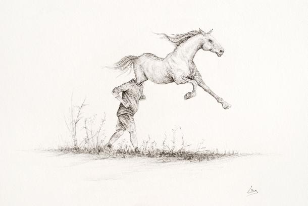De course - 50 x 65 cm - Encre sur papier