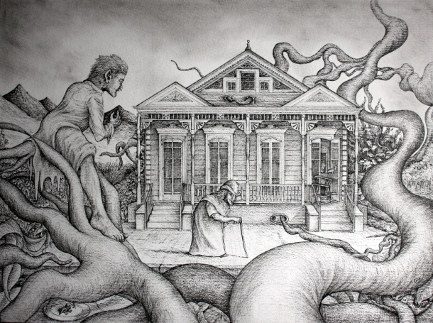 La maitresse des lieux - 36 x 48 cm - Stylo sur papier Old Stess - 36 x 48 cm - Ink on papier